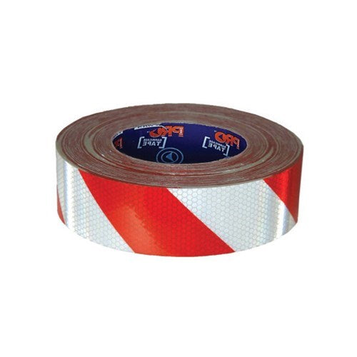 Hazard Tape Red & White Self Adhesive Reflective