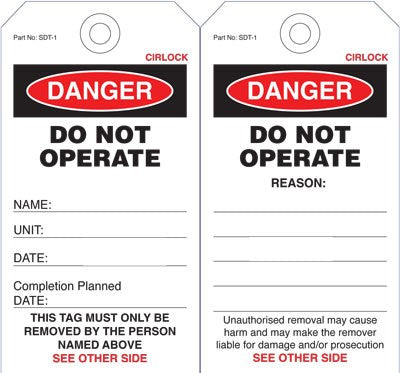 Cirlock DANGER Do Not Operate Tag - Cardboard 140x75 mm