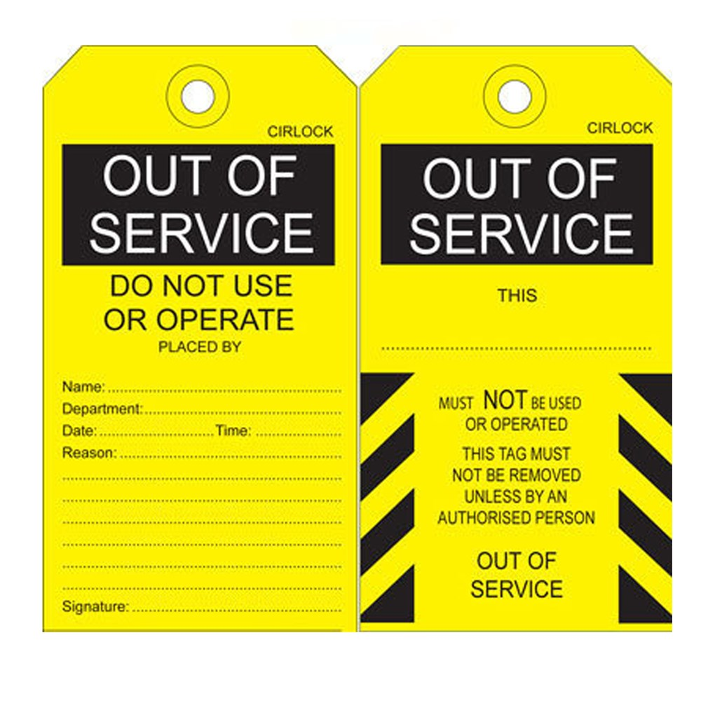 Cirlock Out Of Service Tag - Cardboard 140x75 mm