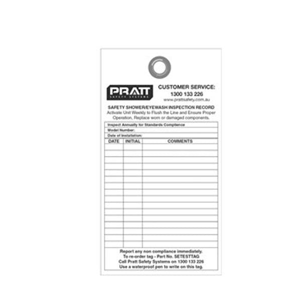 Pratt Shower And Eye Wash Test Tag - Pack Of 10
