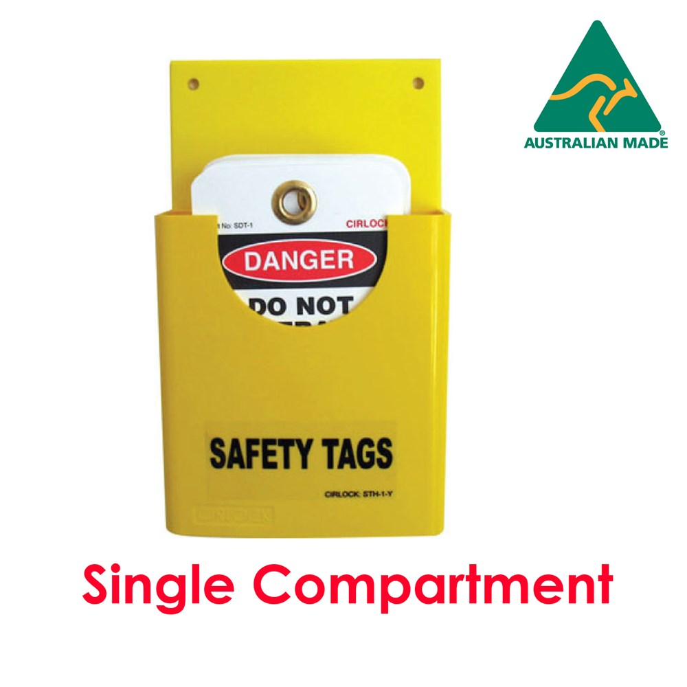 Cirlock Heavy Duty Safety Tag Holder - single compartment - YELLOW