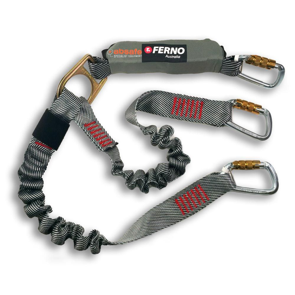 Ferno Absorber Elasticated Twin Tail Lanyard with Triple Lock Karabiners