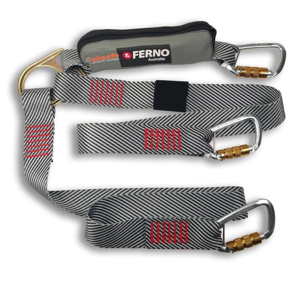 Ferno Absorber Standard Twin Tail Lanyard with Triple Lock Karabiners