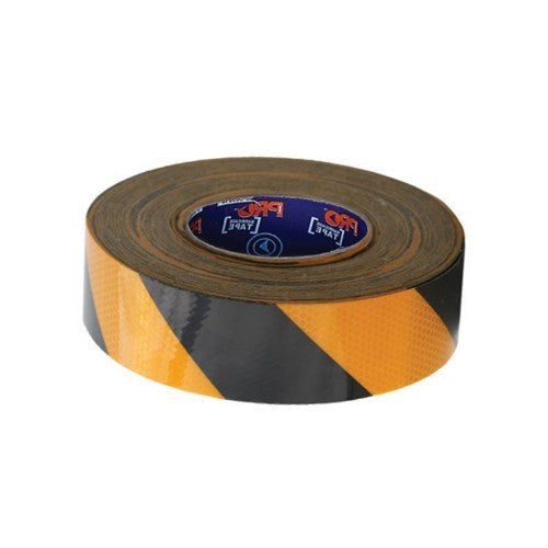 Hazard Tape Black & Yellow Self Adhesive Reflective