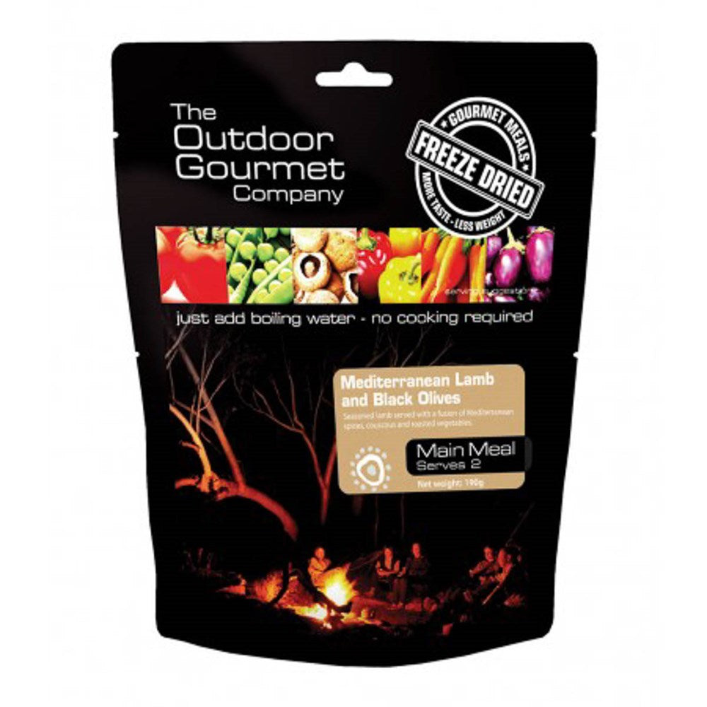 Outdoor Gourmet food packs - Med Lamb With Black Olives
