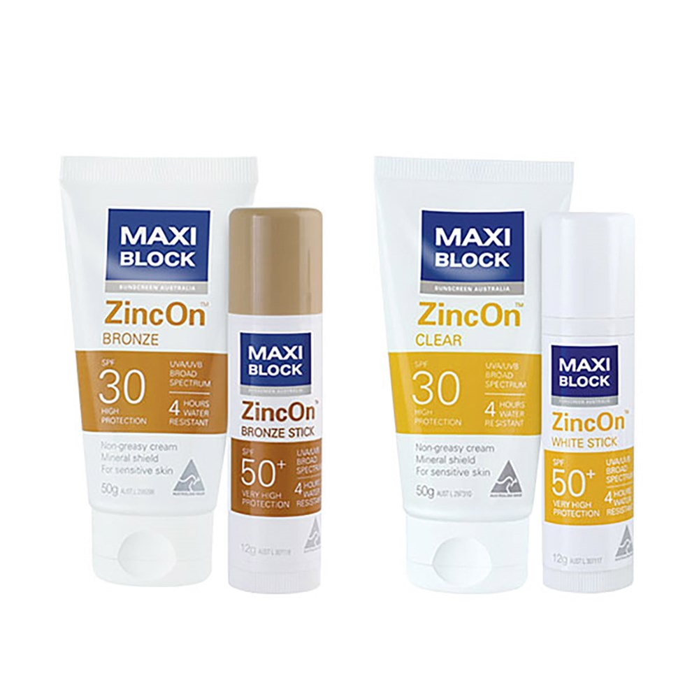 MaxiBlock SPF30 50gm Zinc On Clear Tube  - Case of 24 Tubes