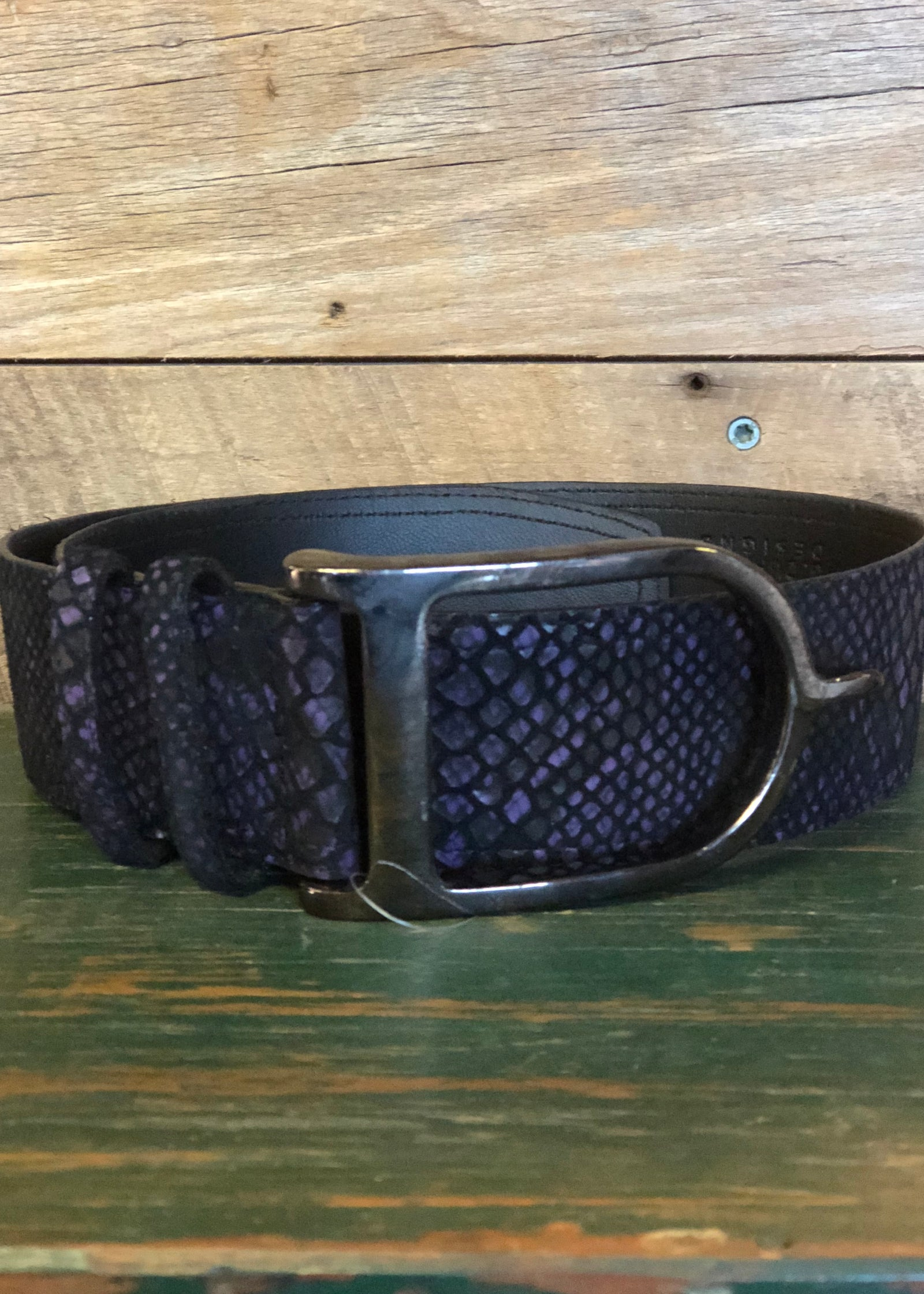 Duftler Spur Belt Purple and black anaconda gunmetal  Spur Buckle - Luxe EQ
