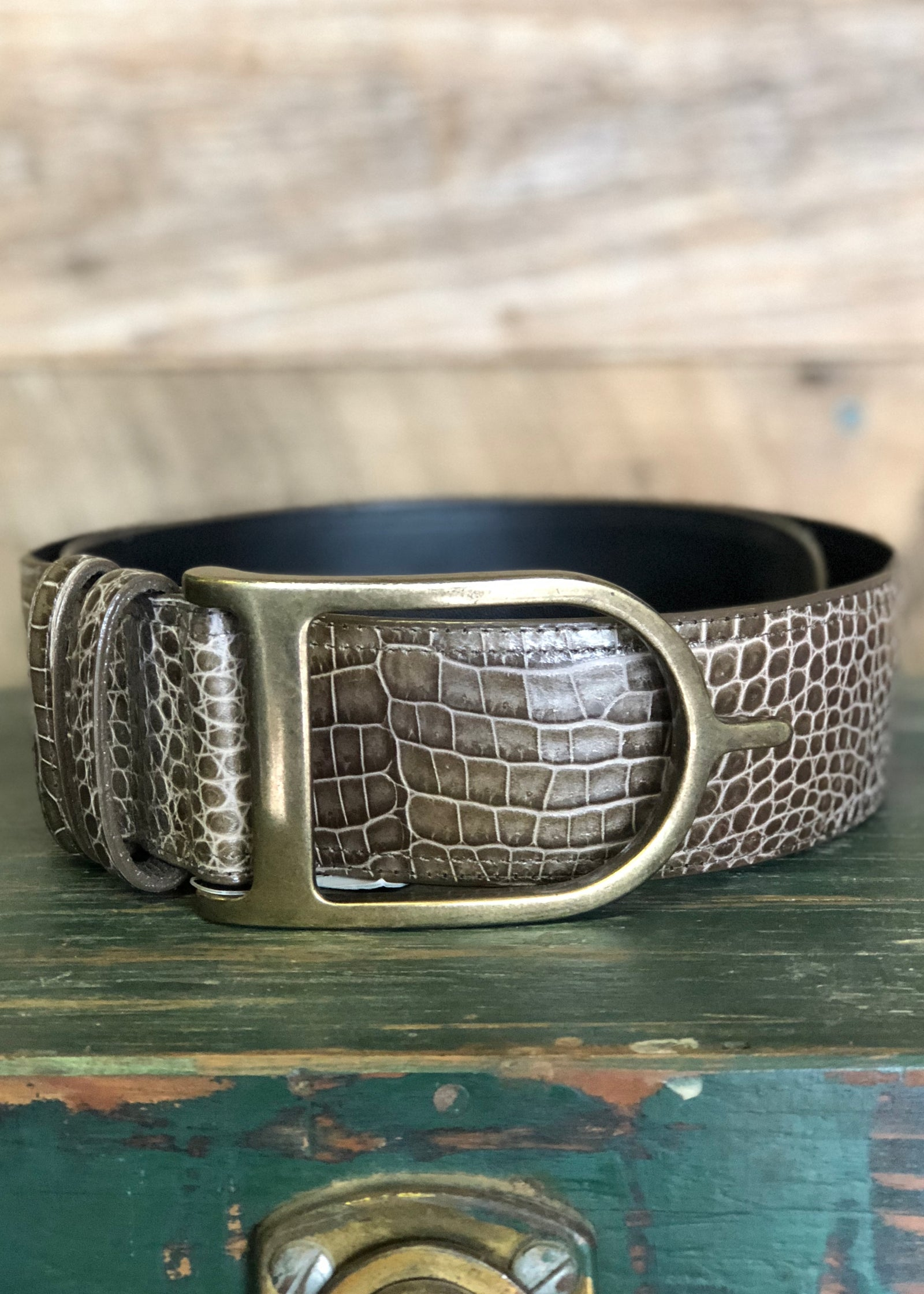 Duftler Spur Belt Taupe Croc with Antique Spur Buckle