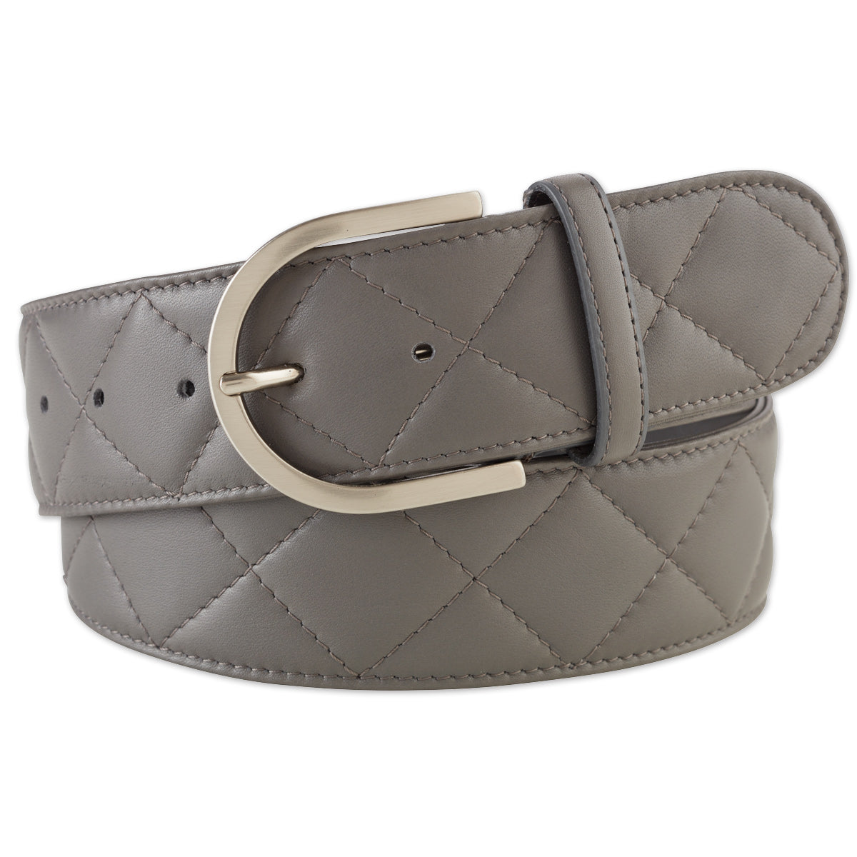 Tailored Sportsman Leather Quilted C Belt Grey - Luxe EQ