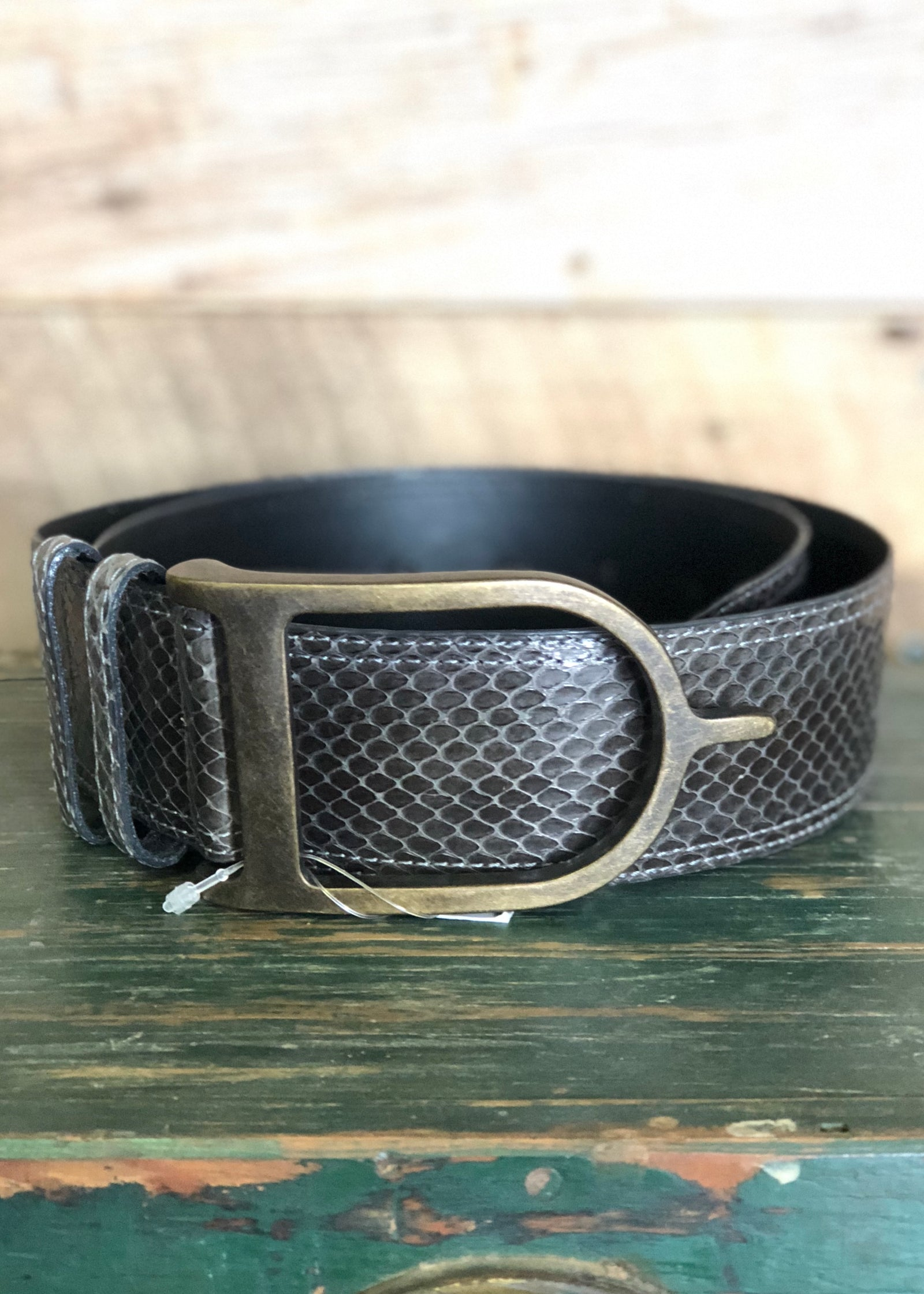 Duftler Spur Belt Dark Olive Genuine Skin Antique Spur Buckle - Luxe EQ
