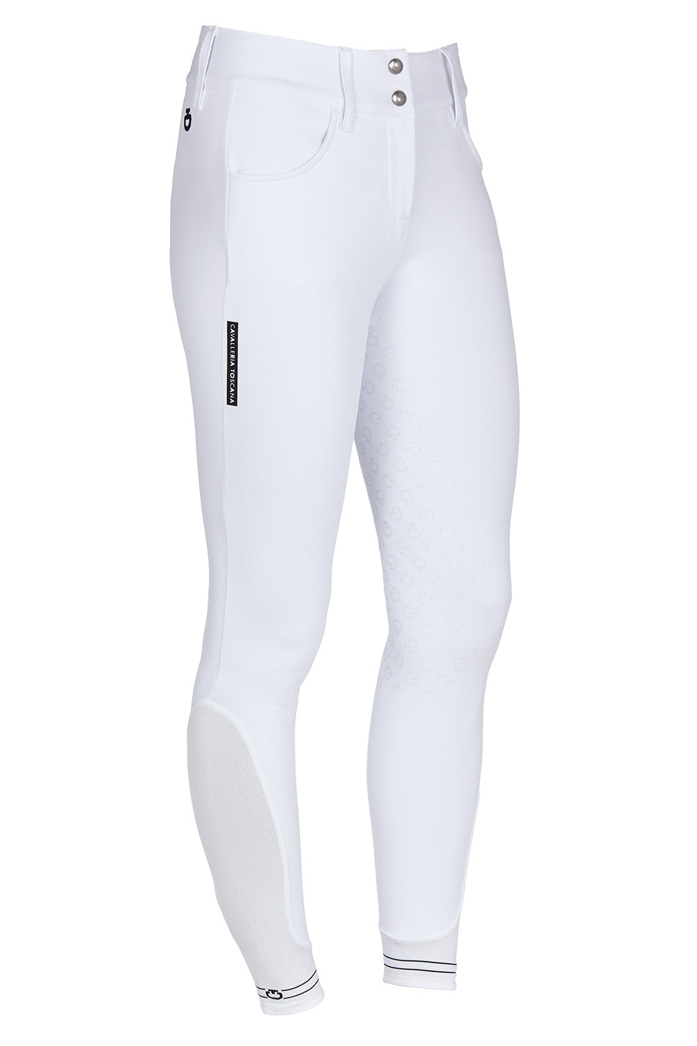Cavalleria Toscana American Breeches with Logo Tape White 0001 - Luxe EQ