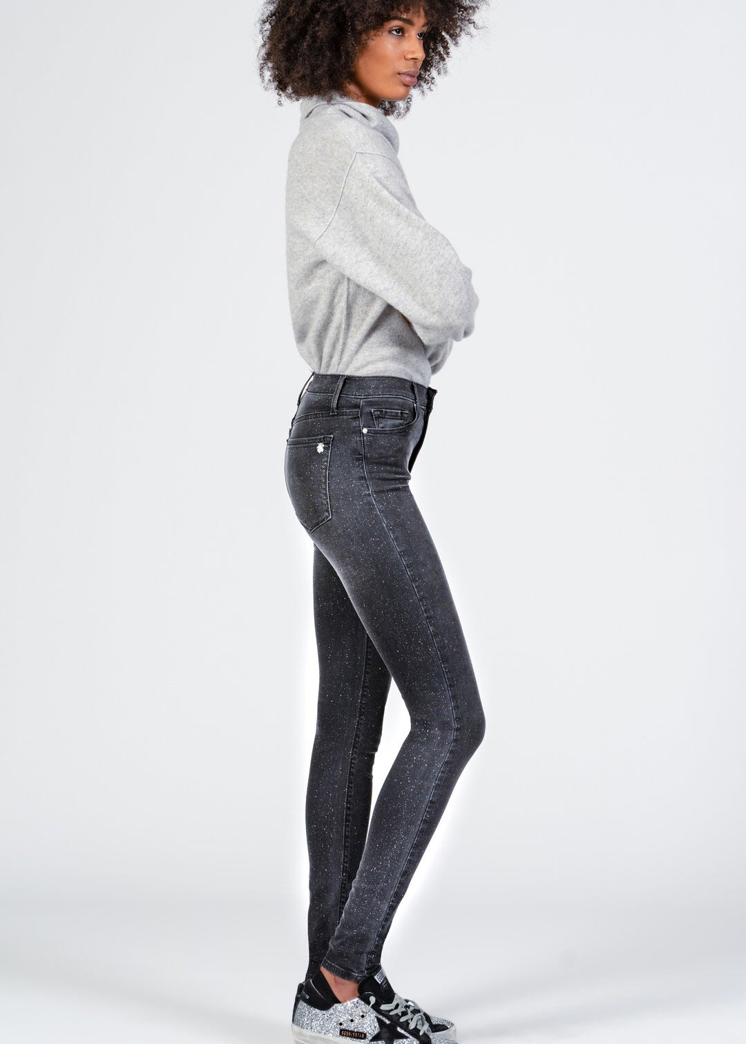 Black Orchid Denim Gisele High Rise Super Skinny with All Over Glitter - Slow Drive - Luxe EQ