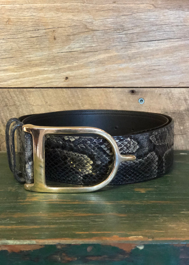 Duftler Spur Belt Black and Gold Anaconda - Luxe EQ