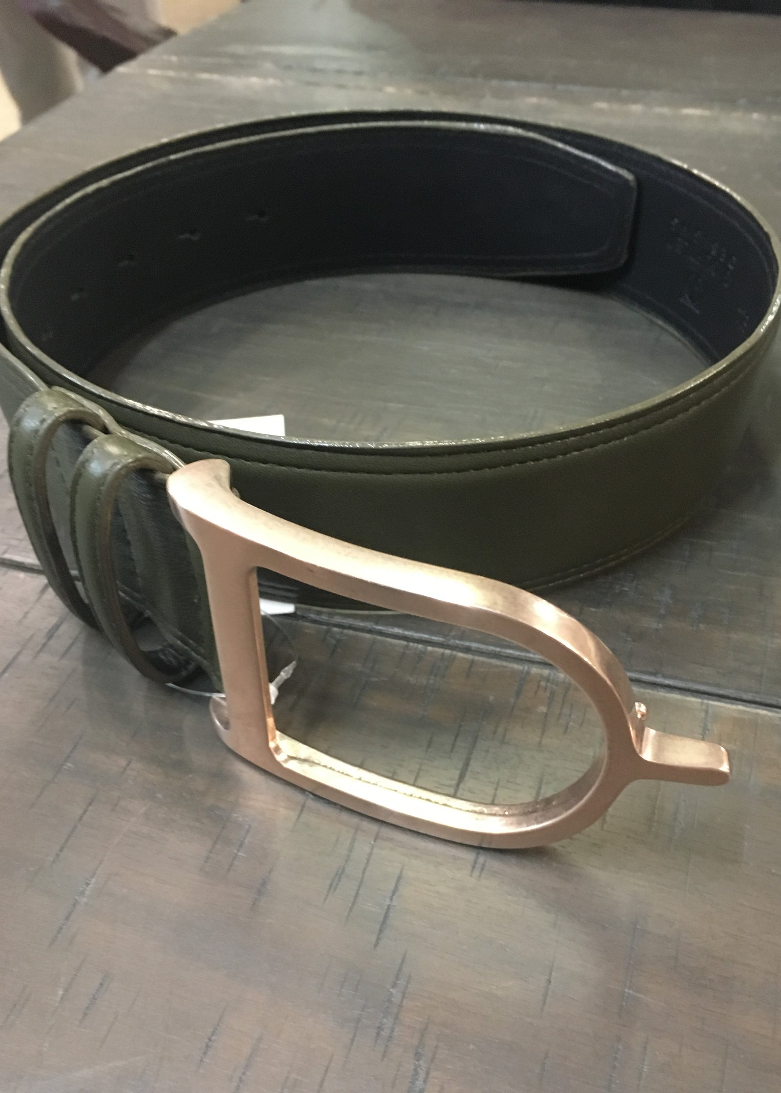 Duftler Spur Belt Rose Gold Buckle Olive Lamb - Luxe EQ