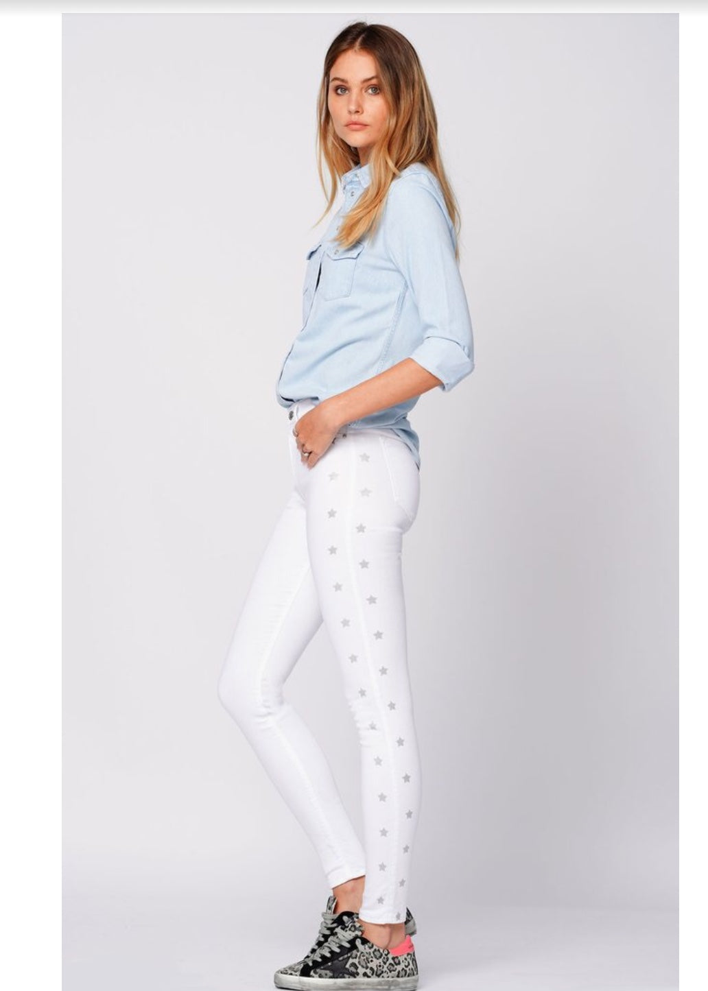 Black Orchid GISELSE HIGH RISE SKINNY WITH RACER STARS - SNOW WHITE - Luxe EQ