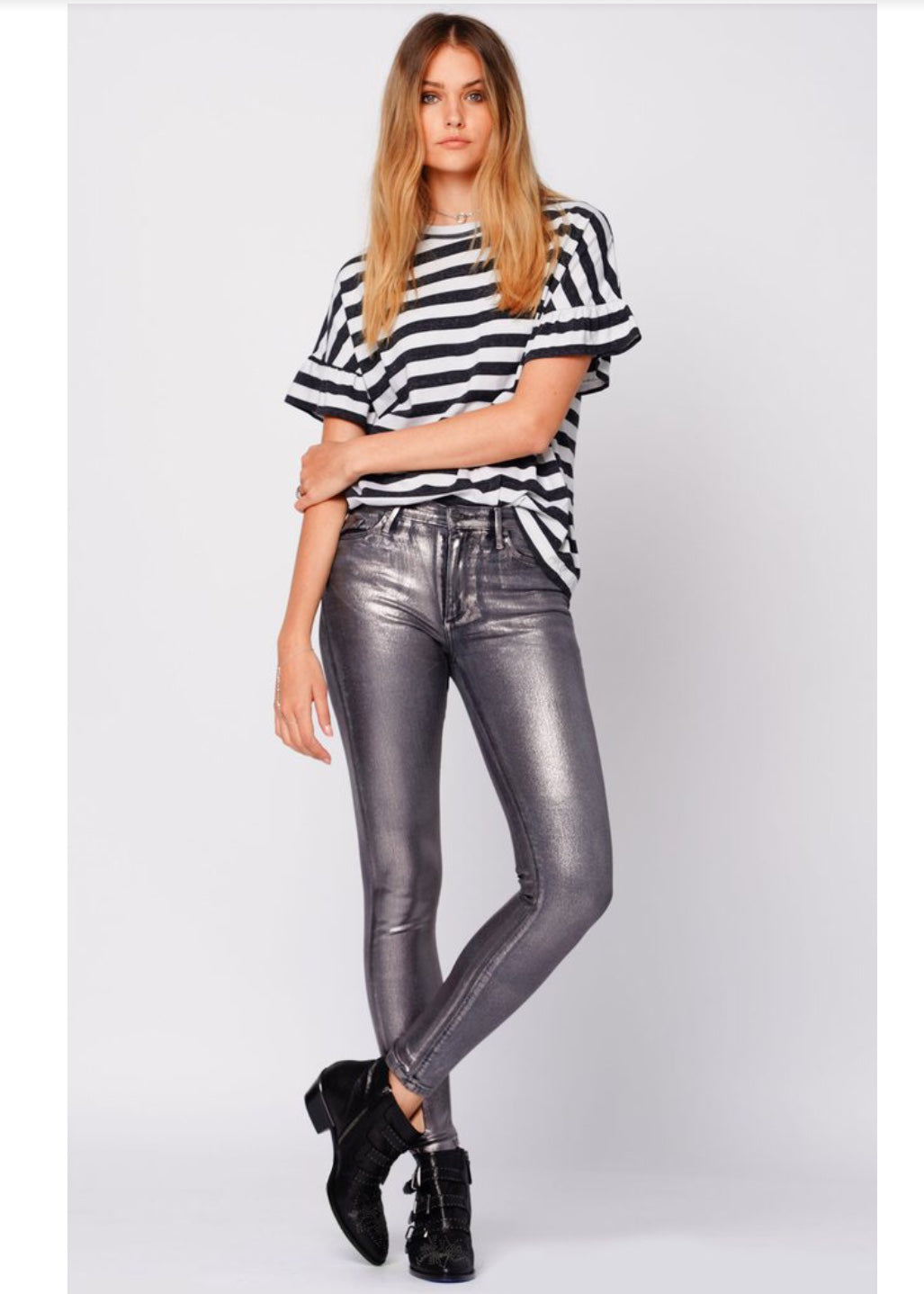 Black Orchid Denim GISELE HIGH RISE SKINNY WITH FOIL - UP THE AMP - Luxe EQ