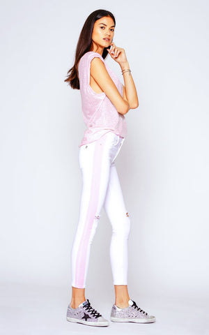 Black Orchid GISELSE HIGH RISE SKINNY WITH RACER STARS - SNOW WHITE