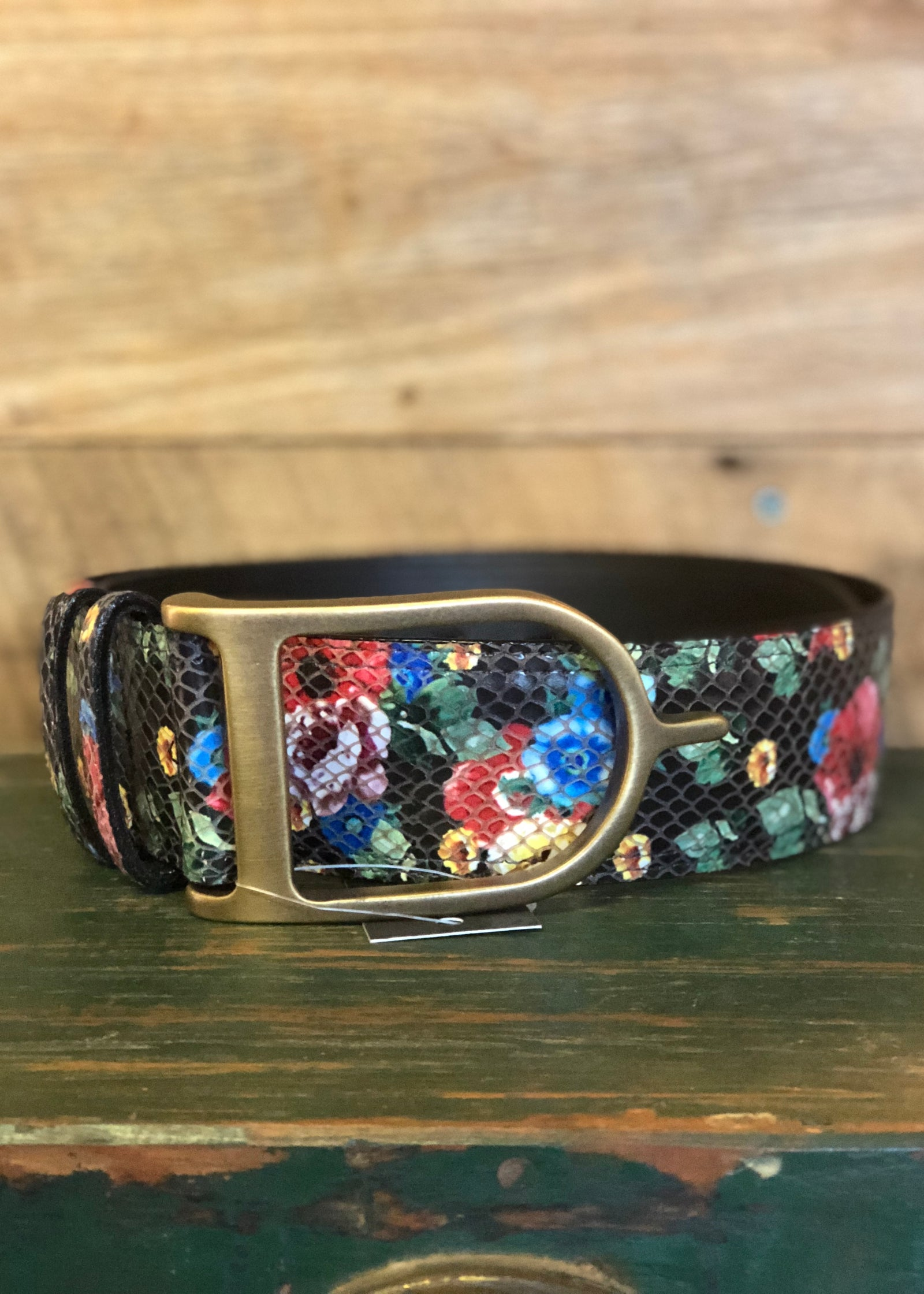 Duftler Spur Belt Black Floral w/ Antique Gold Buckle