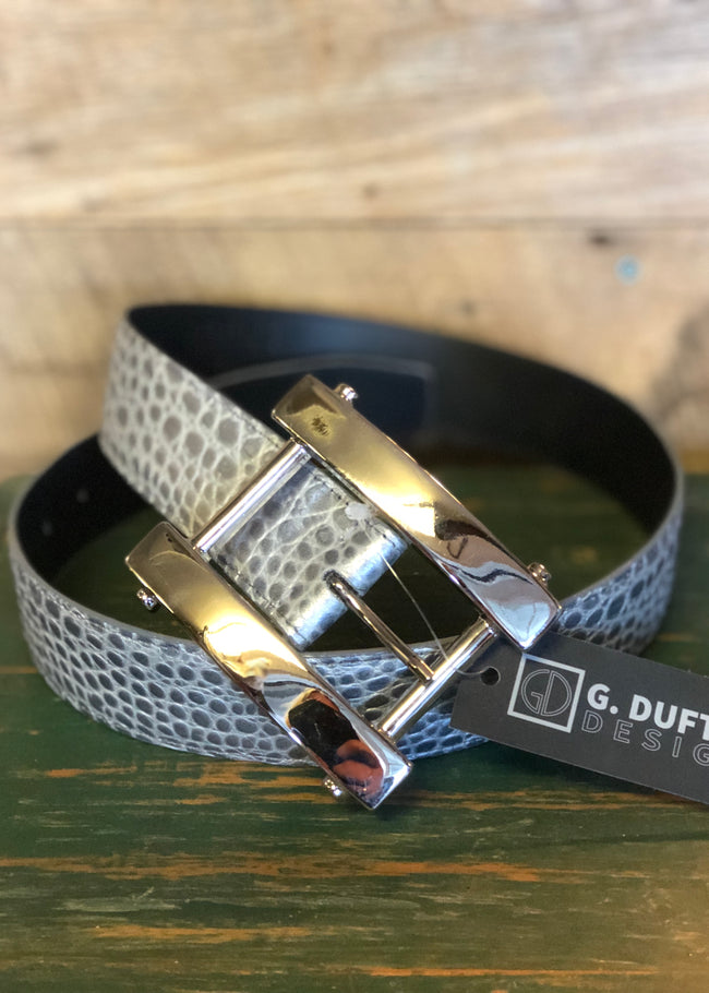 Duftler Belt H Buckle Silver Charcoal Croc - Luxe EQ