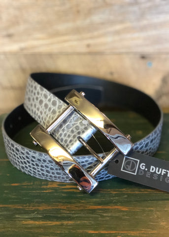 Duftler Spur Belt Bone Lizard With Silver Buckle