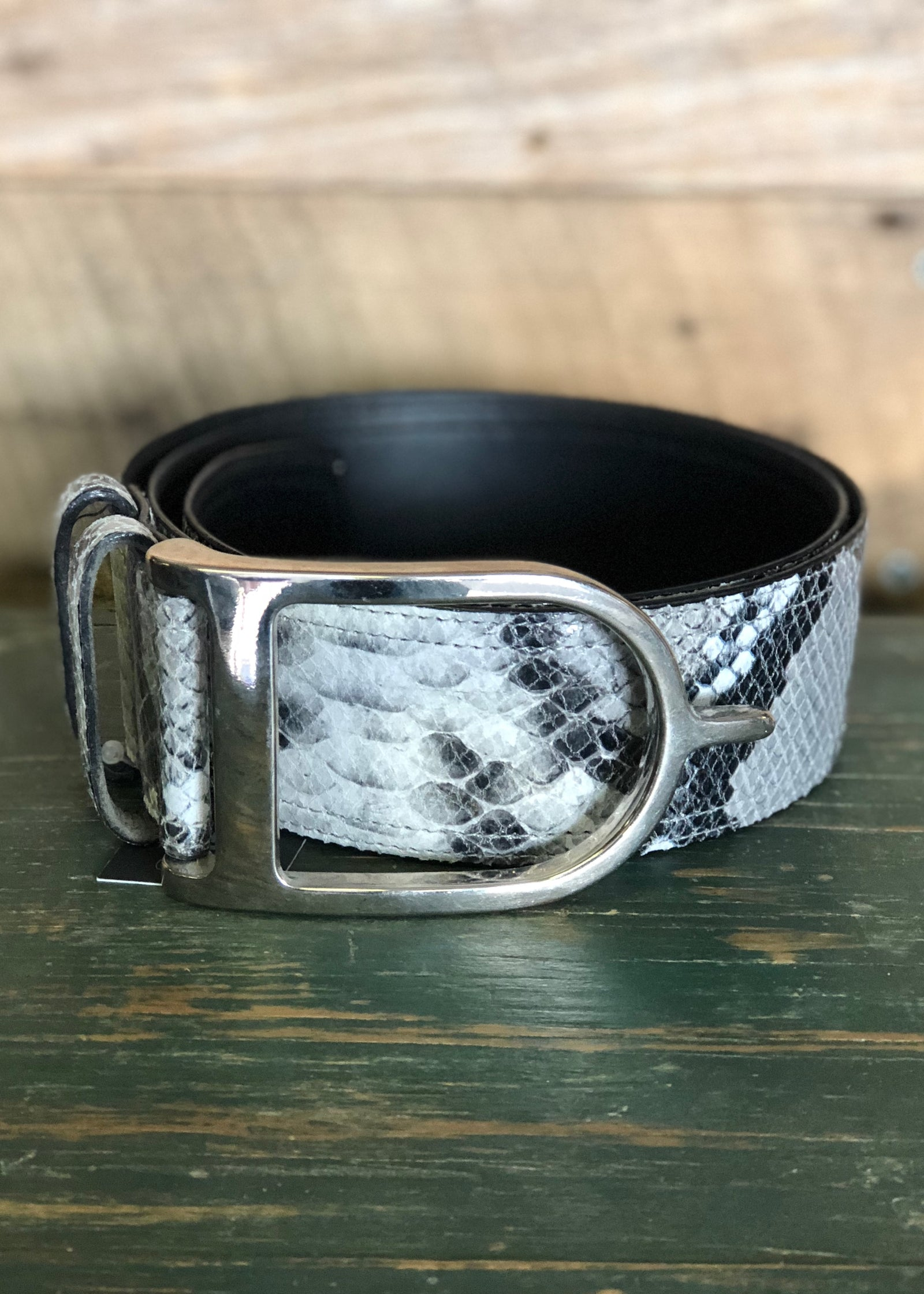 Duftler Spur Belt Black and White Anaconda