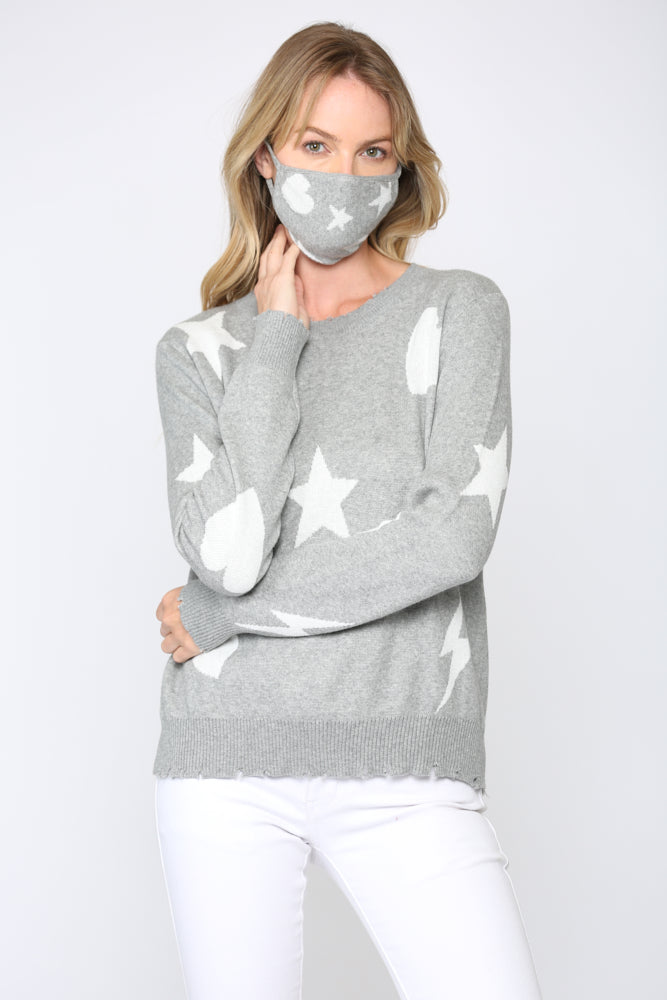 Fate Star Heart Lightening Sweater Grey/White