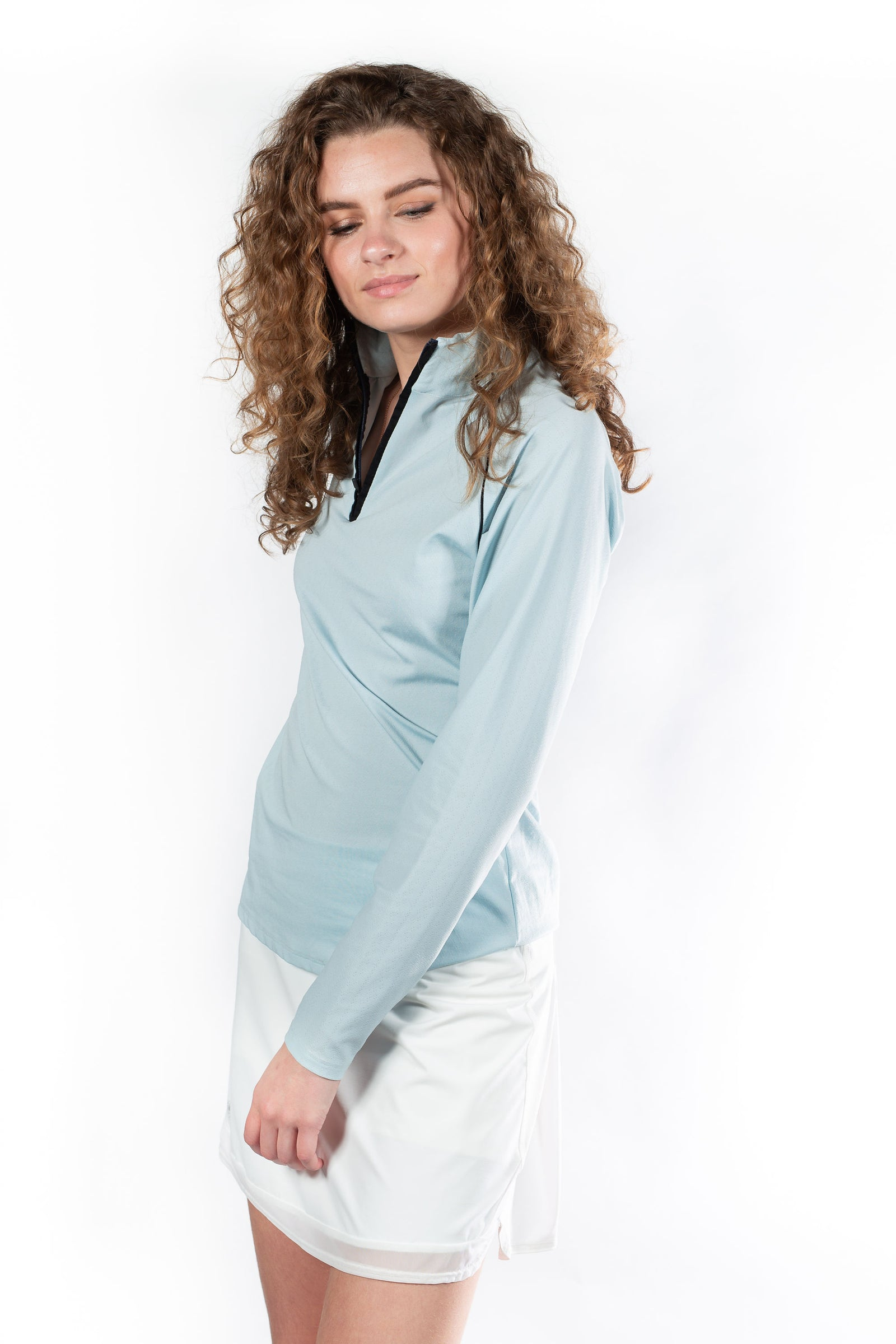 Hannah Childs Grace Long Sleeve Zip Shirt Hydrangea - Luxe EQ