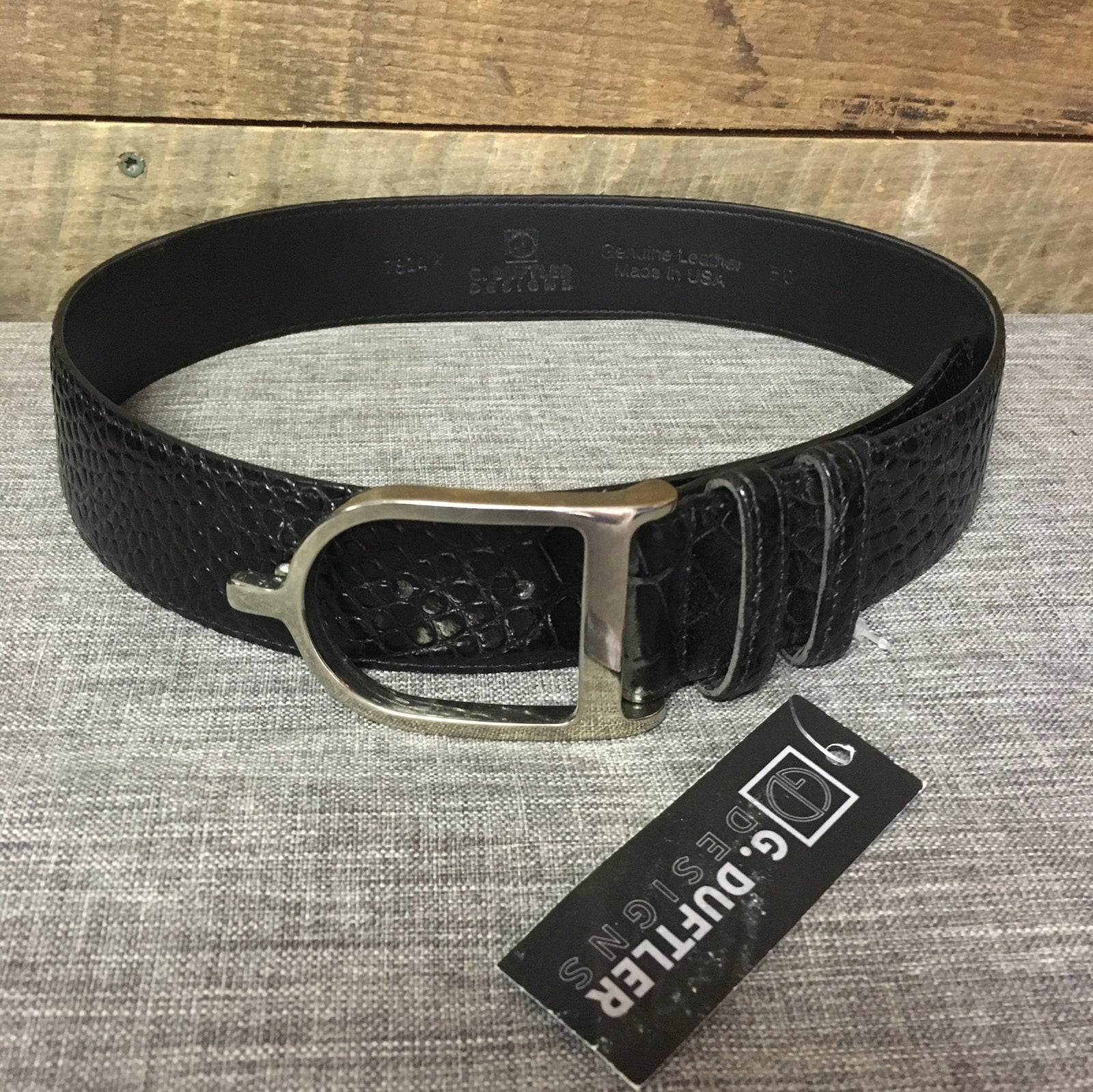 Duftler Spur Belt Black Croc With Silver Buckle 1.5""