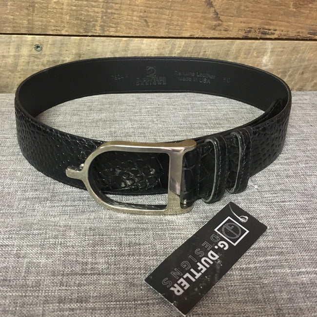 "Duftler Spur Belt Black Croc With Silver Buckle 1.5"" - Luxe EQ"