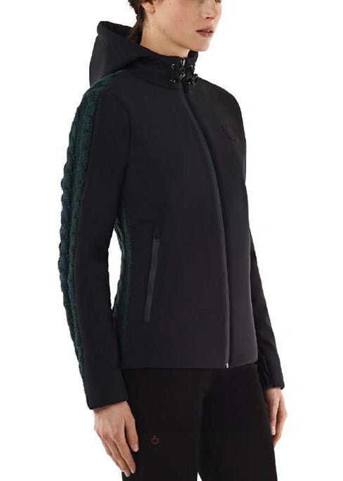 Cavalleria Toscana Jersey Fleece Hoodie with Cable Knit