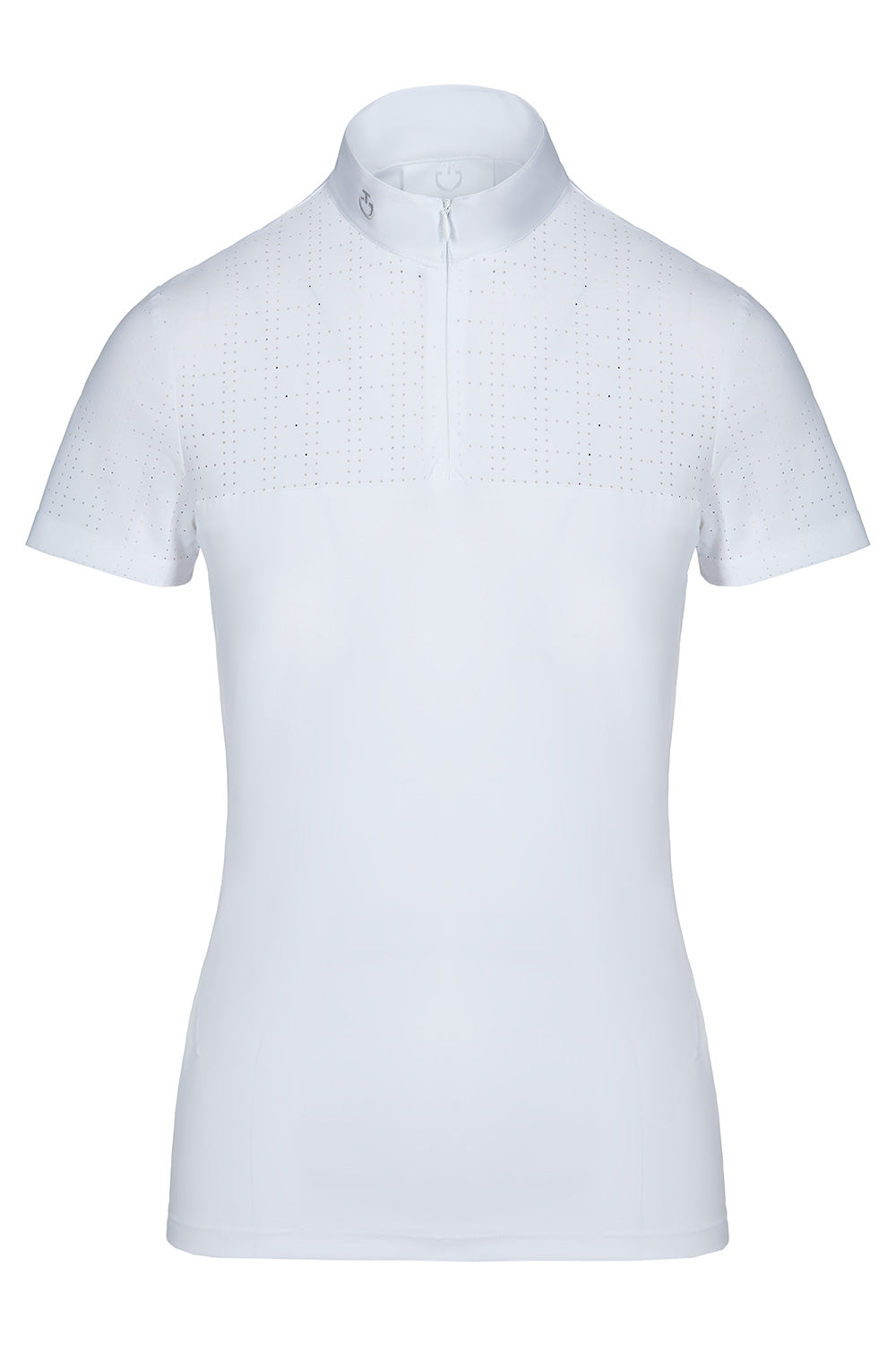 Cavalleria Toscana Square Perforated Zip S/S Comp Polo - Luxe EQ
