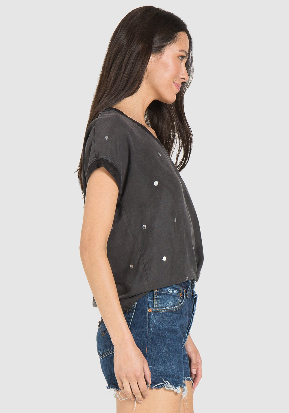 Bella Dahl Easy Fray Hem Metalic Stamp Tee - Luxe EQ