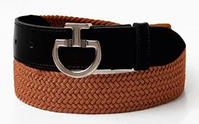 Cavalleria Toscana Women's Elastic Belt CT clasp Copper/Black - Luxe EQ