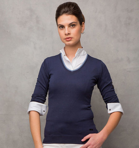 Cavalleria Toscana Tech Wool V Neck Sweater Navy