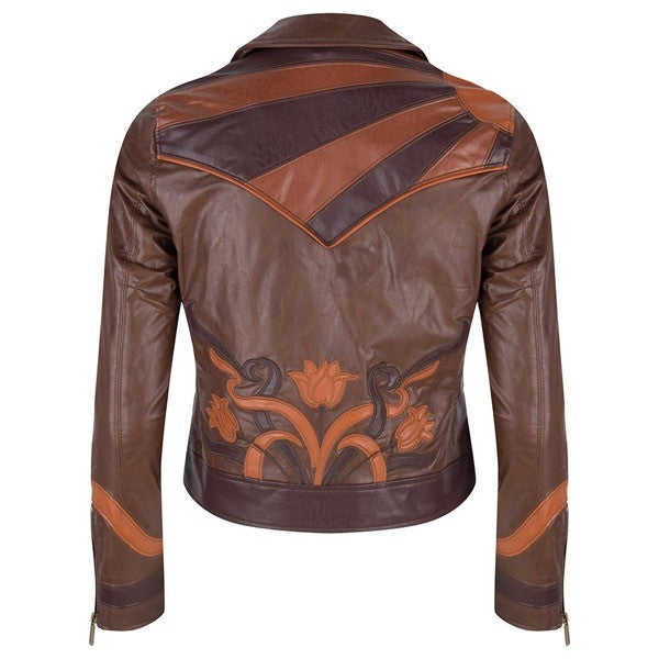 Esqualo embroidered vegan leather moto jacket - Luxe EQ