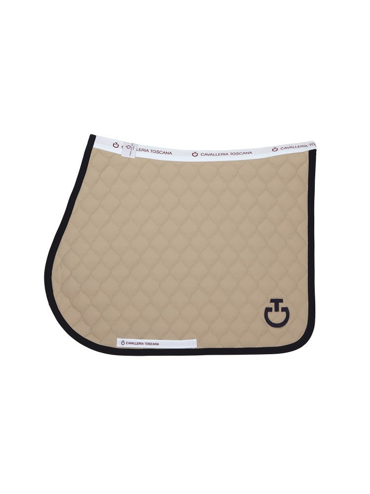 Cavalleria Toscana Quilted Jumping Saddle Pad White with Turquoise