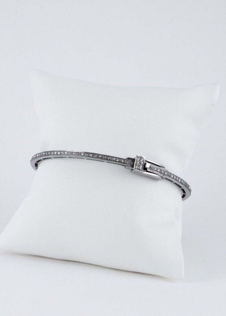 Harvest Jewels Single Row Pave Diamond Bangle W/Buckle - Luxe EQ