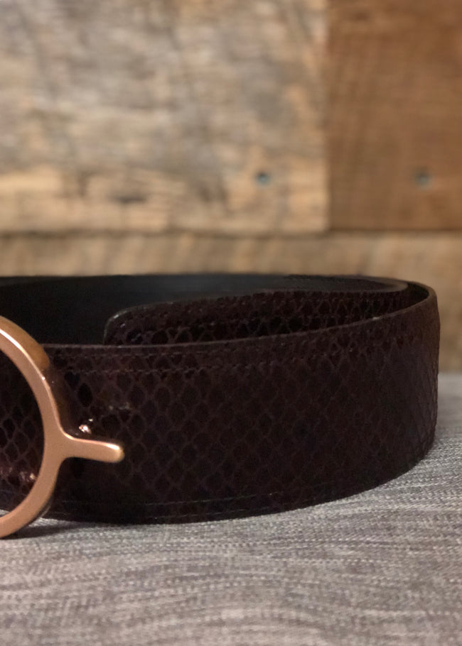 Duftler Spur Belt Burgundy Scale with Rose Gold Buckle - Luxe EQ