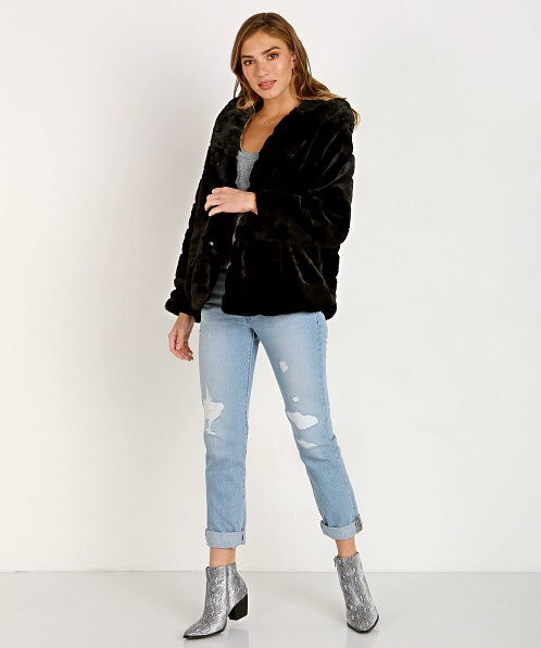 Black Orchid Hooded Faux Fur Jacket - Luxe EQ