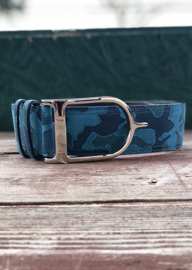 Duftler Spur Belt Blue Camoflage with Silver Buckle - Luxe EQ
