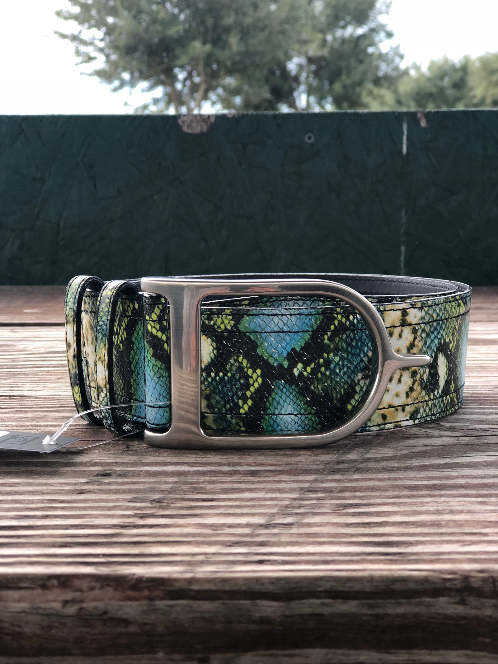 Duftler Spur Belt Turquoise Anaconda with Silver Buckle - Luxe EQ