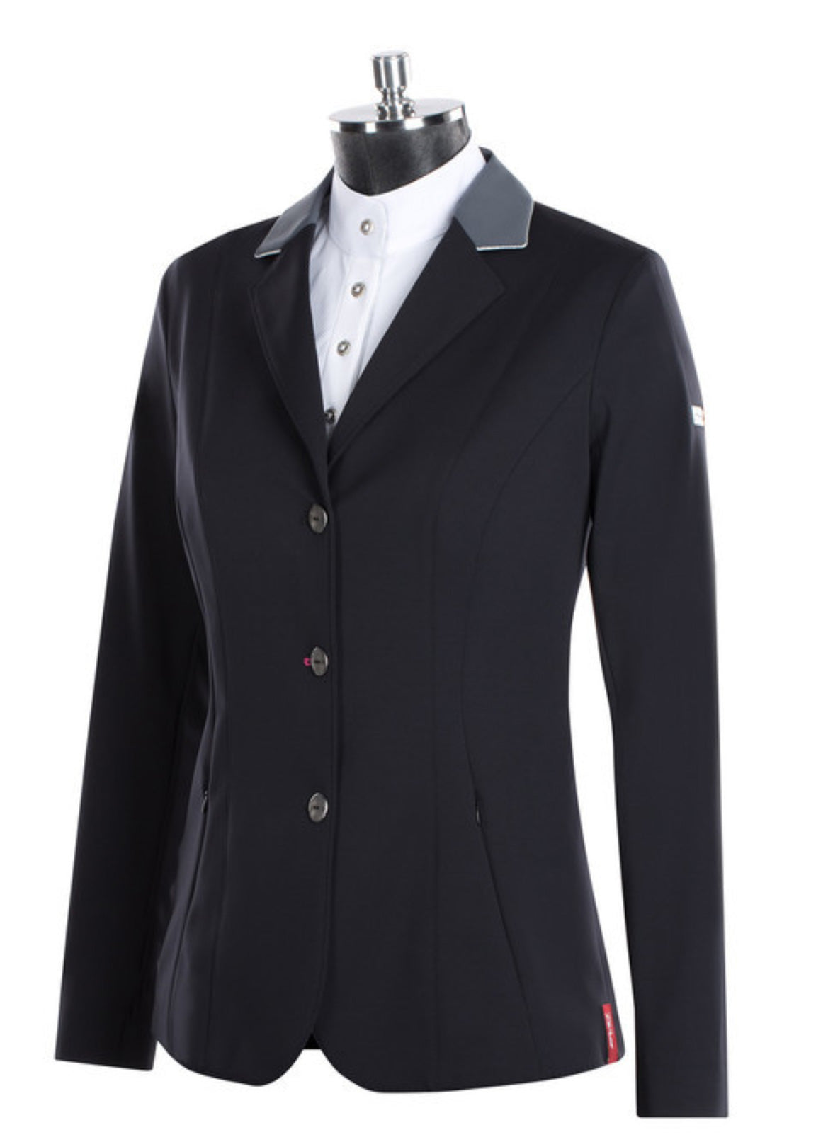 Animo Show Coat Linosa Green with Grey Collar and Metalic Piping - Luxe EQ