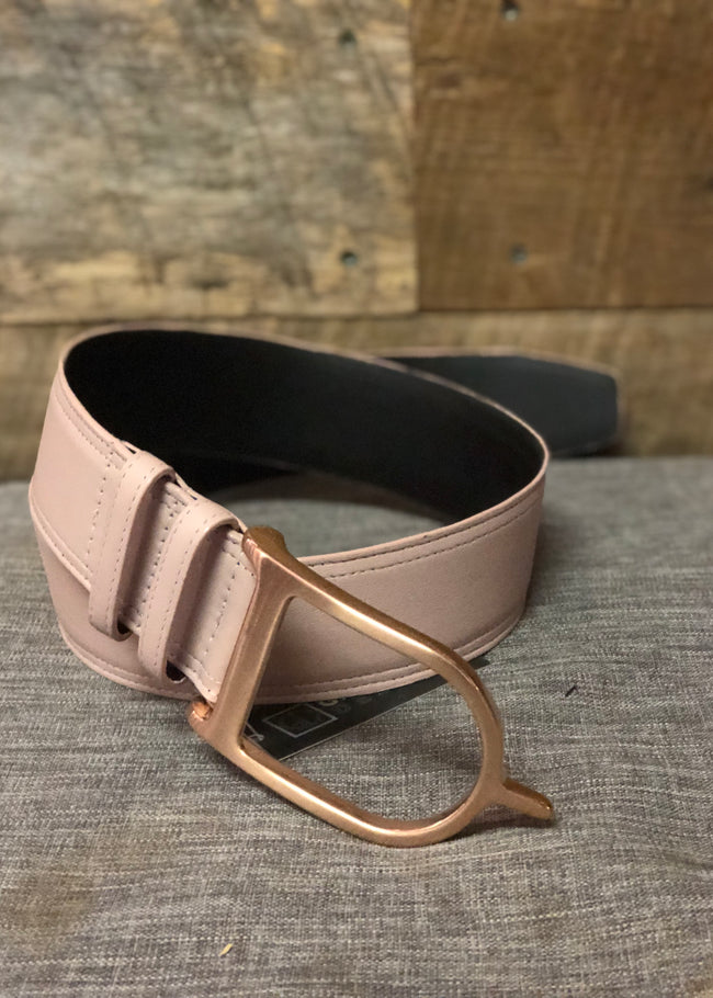Duftler Spur Belt Blush Lambskin with Rose Gold Buckle - Luxe EQ