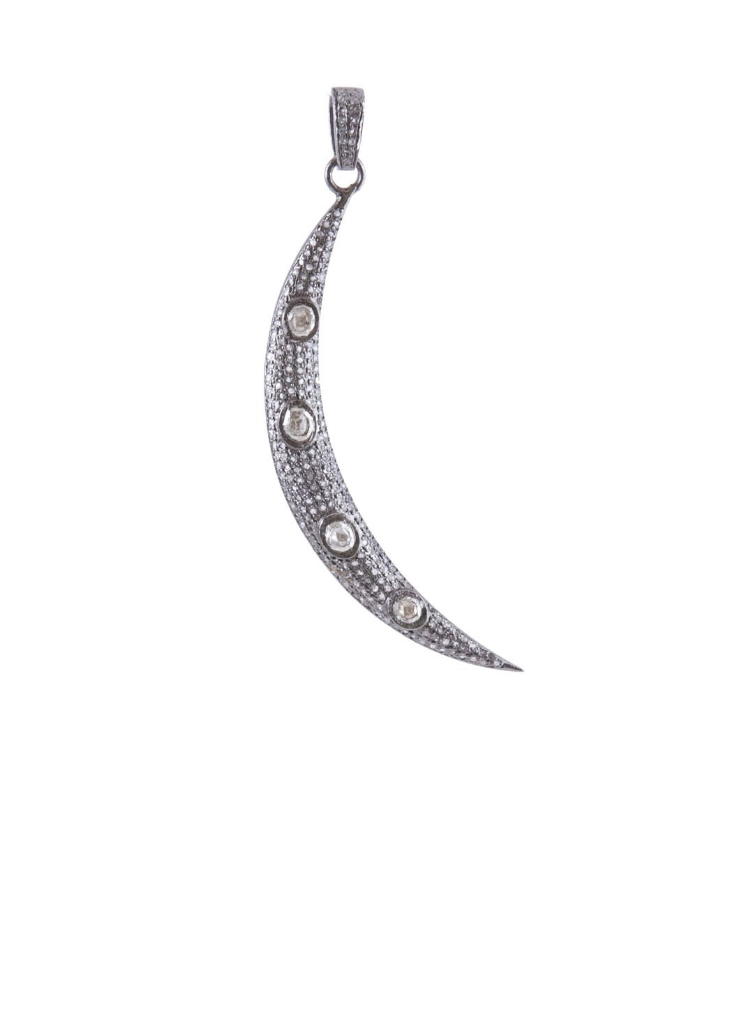 Harvest Jewels Rose Crescent Pave Diamond Pendant - Luxe EQ