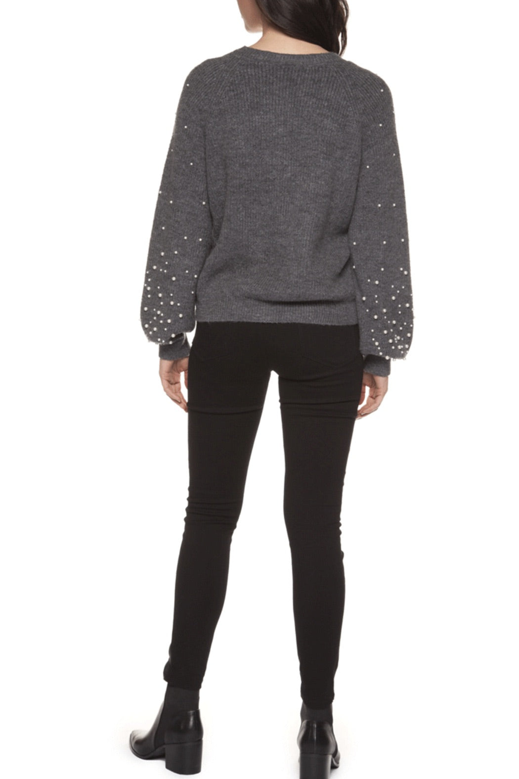 Black Tape Sweater with Pearl Sleeves