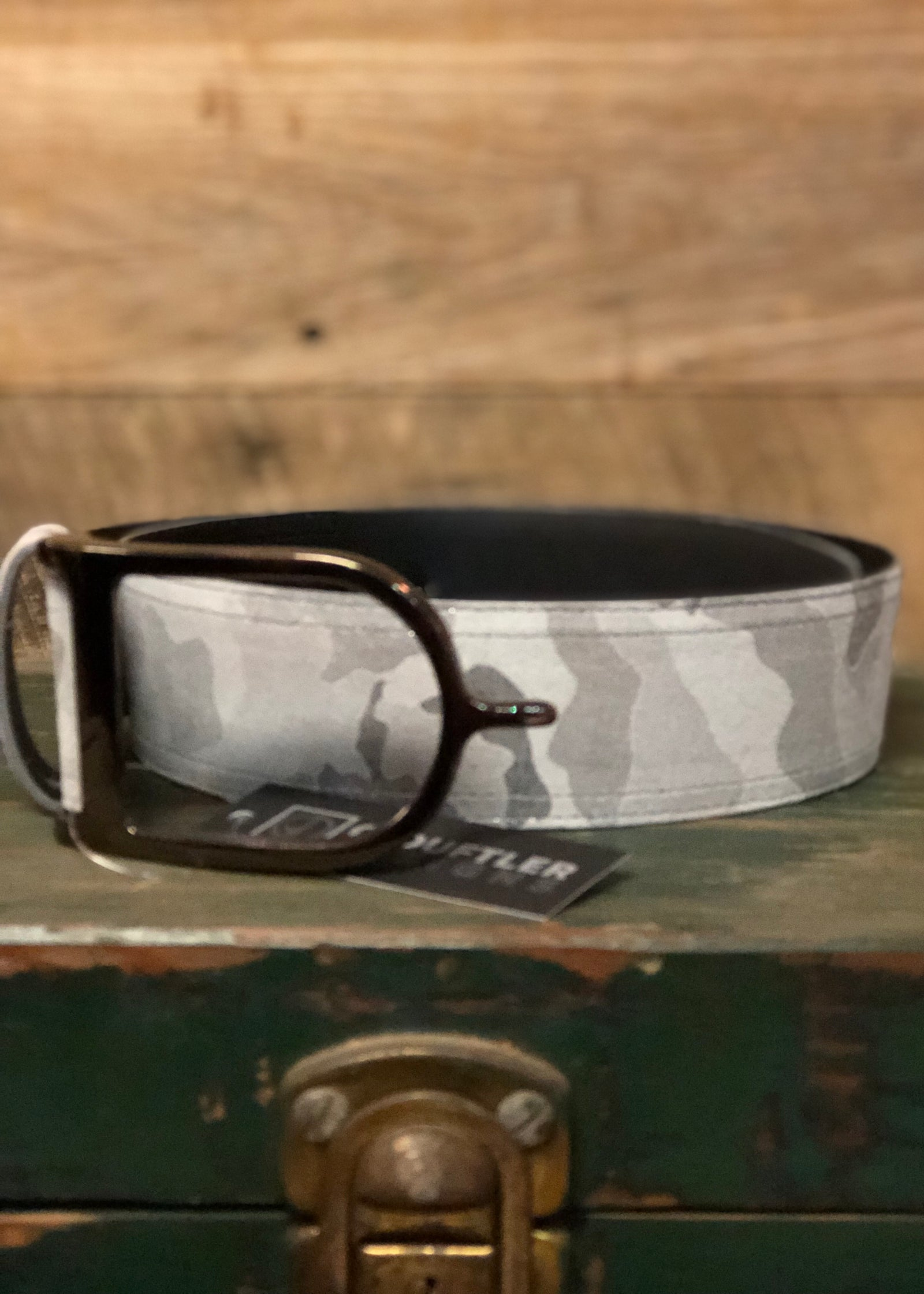 Duftler Spur Belt Grey Camo with Gunmetal Buckle - Luxe EQ