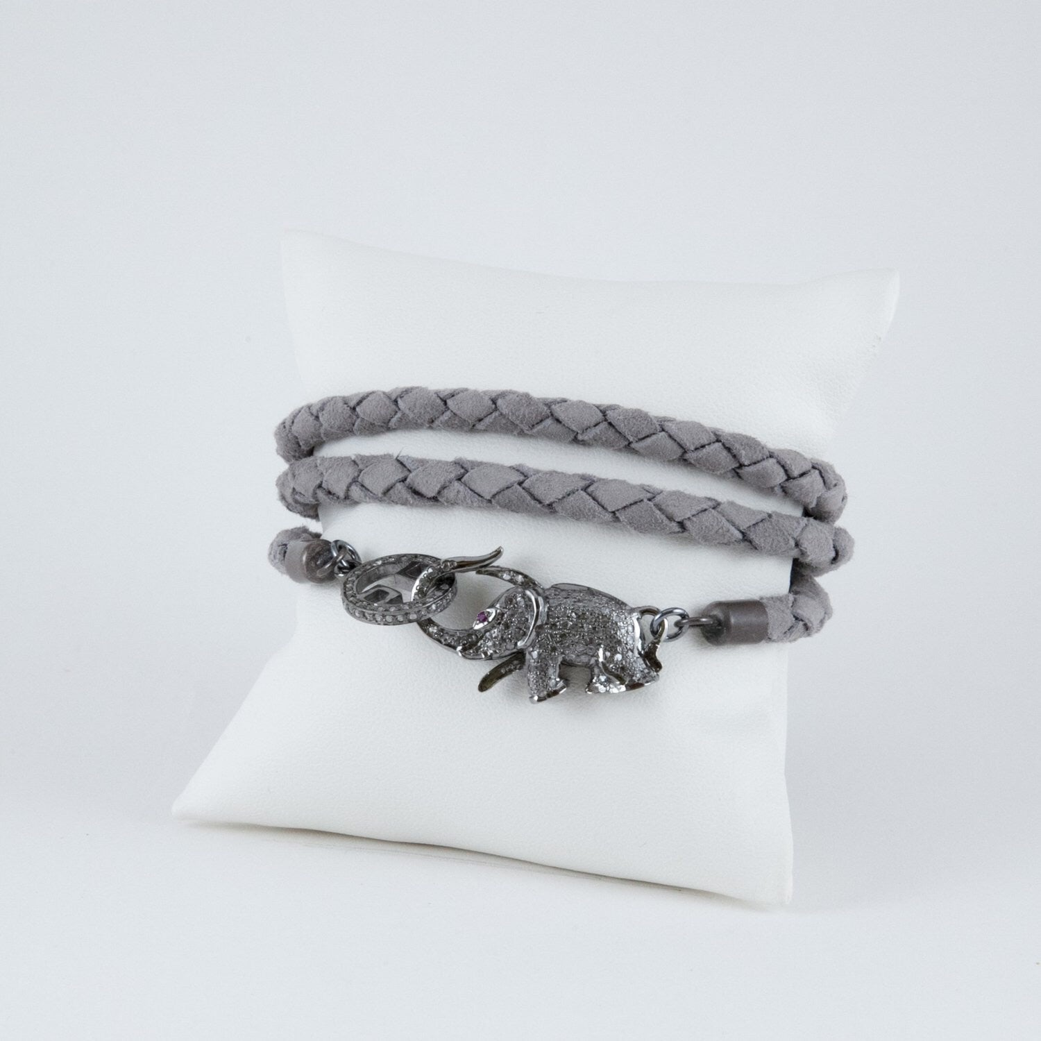 Harvest Jewels Triple Wrap Braided Suede Elephant Bracelet - Luxe EQ