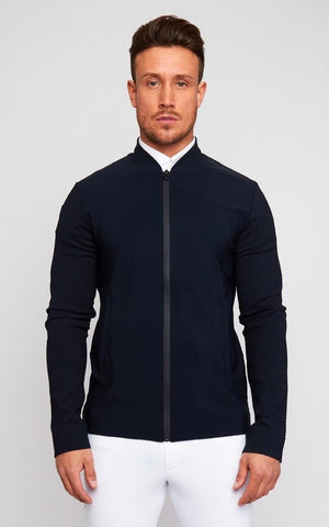 Cavalleria Toscana Perforated Jersey Zip Polo L/S Navy/Navy