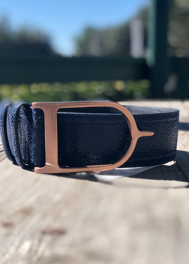 Duftler Spur Belt Navy Micro Dot with Rose Gold Buckle - Luxe EQ