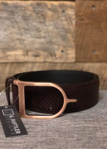 Duftler Spur Belt Dark Olive Genuine Skin Antique Spur Buckle